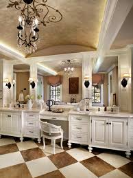 luxury makeup vanity. L Shaped Bathroom Vanity With Make Up Table And Corner Wall Luxurious Master Featured Checkered Floor Tile Double Long Vanities Luxury Makeup O