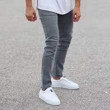 Light Jeans Plain Light Grey Slim Fit Jeans