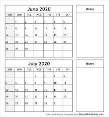 Printable Monthly Calendar July 2020 Print June July 2020 Calendar Template 2 Month Calendar