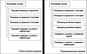 Реферат Отчет по производственной практике в ОАО Газпромнефть  Организационная структура отделов розничных и оптовых продаж представлена на рисунке 4 1