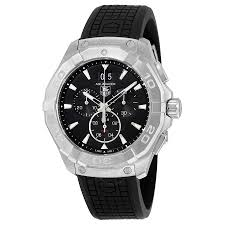 tag heuer aquaracer black dial chronograph rubber strap men s tag heuer aquaracer black dial chronograph rubber strap men s watch cay1110