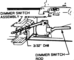 chevy steering column rod fit into the ignition switch dimmer mount graphic