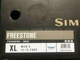 Simms Freestone Size Chart Simms Freestone Stockingfoot Waders Smoke Extra Large New