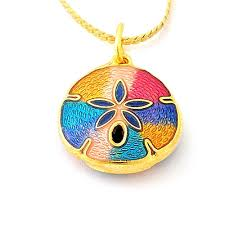 details about hand made gold plated two sided cloisonne sand dollar pendant with chain