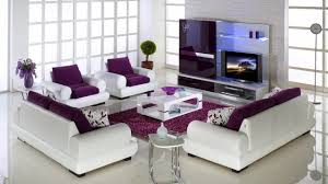 purple and grey living room accessories black faux leather sofa sets with arms metal round end
