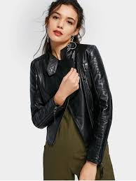 asymmetric zippered faux leather jacket black m