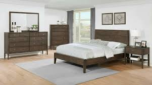 cst204561q 5 pc lompoc collection ash brown finish wood tapered leg queen bed set