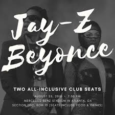 Beyonce Atlanta Seating Chart 2 All Inclusive Tickets Jay Z Beyonce Otr Ii 8 25 18 At