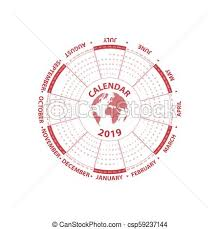 Circle Calendar Template 2019 Calendar Template Circle Calendar Template Calendar 2019 Set Of 12 Months Starts From Sunday Yearly Calendar Vector Design Stationery