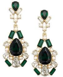lyst kate spade new york gold tone crystal pearl green stone