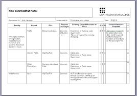 Risk Assessment Form Sample Risk Assessment Brookenelsonmedia 7