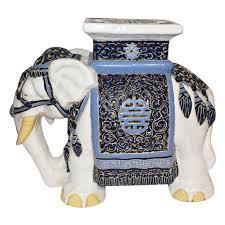 white ceramic elephant garden stool