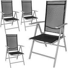 4 aluminium garden chairs reclining