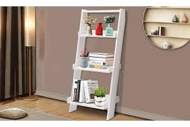smith 3 tier wooden wall rack leaning ladder shelf unit bookcase display home decor white home storage