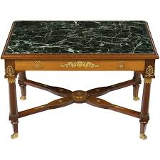 details about antique french empire style mahogany marble top coffee cocktail table small