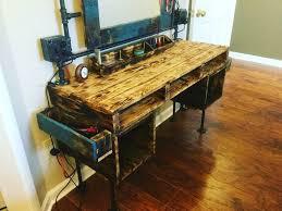 pallet furniture desk. pallet furniture black pipe dressing table vanity makeup reclaimed desk