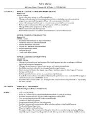 Senior Logistics Coordinator Resume Samples Velvet Jobs