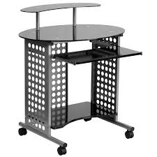 flash furniture cassini mobile computer desk with black glass top
