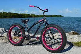 ladies flat black w pink fat tire cruiser custom ladies cruiser