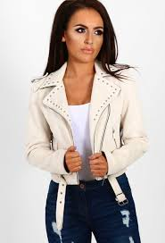 tell me about it cream faux suede studded biker jacket