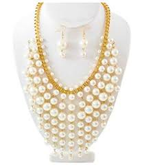 ivory pearl statement necklace set designer inspired jewelry 87