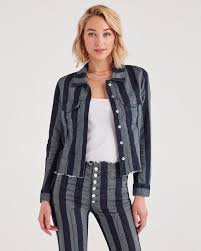 marques almeida x 7fam fitted jacket in blue with stripes