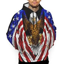 Flag Bald American T-<b>Shirt</b> Hooded with A Pocket Rope Hat ...