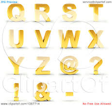 Clipart 3d Golden Capital Letters Q Through Z And Symbols A Shaded White Background With Clipping Path Royalty Free Illustration