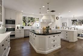 top 85 preferable antique white kitchen cabinets with black granite countertops and dark parquet flooring kitchens oak hardware wall mounted lcd cabinet