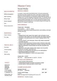 Media Resume Template Social Media Resume Coordinator Specialist Example Sample Pr