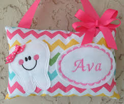 Tooth Fairy Pillow Personalized Girl Chevron Riley Blake