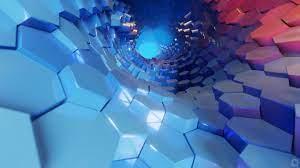 Hexagon 3D Blue Abstract 4K Wallpaper #51