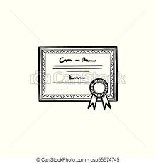 Certificate Outline Graduation Certificate Hand Drawn Sketch Icon