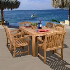 international home ia teak 7 piece brown wood frame patio dining set