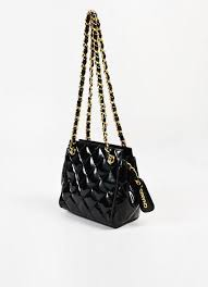 Chanel Black Patent Leather Quilted Gold Chain Strap Shoulder Bag ... & Chanel Black Patent Leather Quilted Gold Chain Strap Shoulder Bag – Luxury  Garage Sale Adamdwight.com