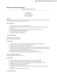 Sample Respiratory Therapist Resume Respiratory Job Description