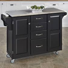 Create-a-Cart Kitchen Island with Stainless Steel Top Base Finish: Black