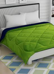 Story Home Green Navy Blue Solid Ac Room 210 Gsm Double Bed Reversible Comforter
