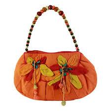 Antik Batik Handbag Floral Beads Cotton Vintage Orange