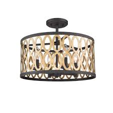 whittier black and warm brass four light flush mount