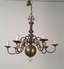 vintage bronze and brass chandelier 1940s