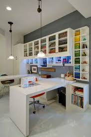 An all white design provides a blank slate in this custom sewing station,  allowing your