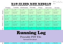 Printable Running Log Running Calendar Fillable Running Log Etsy