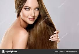 Schönes Model Mädchen Mit Glänzenden Braunen Gerade Lange Haare Und