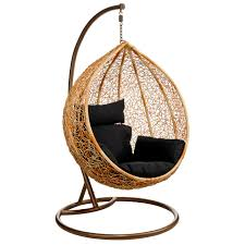 The Premier Housewares Hanging Chair with Natural Rattan and Black Cushion  is a lovely chair with