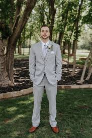 Groom Light Grey Suit Groom In A Light Grey Suit Spring Wedding Groom Style