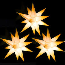 1 Beleuchteter Papierstern Weiß Mit Gelben Spitzen 3d Weihnachtsstern Fürs Fenster Bockelwitzer Stern Artnr205 Inkl Netzteil Mit