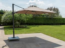 life palermo 3 0m square led cantilever parasol taupe lava 599 garden4less uk