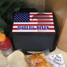 american flag design lunch box with your name