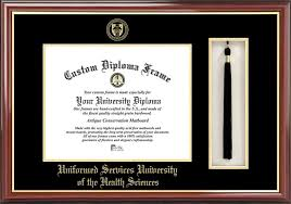 uniformed services university of the health sciences diploma frame  embossed seal tassel box mahogany diploma frame